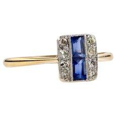 Sapphire & Diamond Art Deco Triple Row Panel Ring, 18ct Gold and Platinum, Circa 1920s.