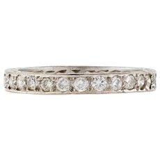 Vintage 18ct Diamond Eternity Ring, Full Hoop 18k White Gold Wedding Band Size M / 6.25.