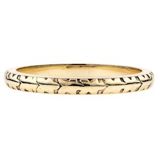 1940s 9ct Yellow Gold Wedding Band, Ladies Narrow Engraved Ring. Size J.5 / 5.