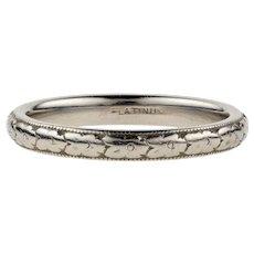 Art Deco Platinum Engraved Wedding Ring, 1920s Flower Pattern Ladies Band. Size I / 4.5.