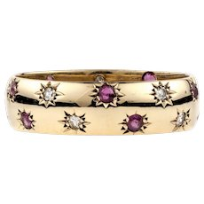 Ruby & Diamond Star Band, Wide 9ct Gold Vintage Eternity Ring. Size R / 8.75.