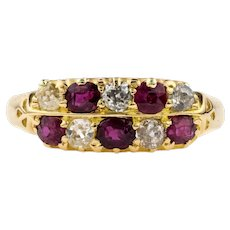 Victorian Checkerboard Ruby & Old Mine Cut Diamond Double Row Ring, 18ct 18k 1880s.