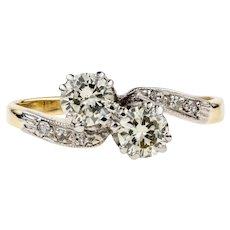 Toi et Moi Diamond Engagement Ring, 18ct Gold & Platinum Stylish 1930s Bypass Design Ring, 0.53 ctw.