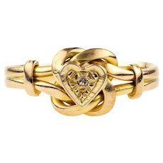 Edwardian 18ct Love Knot Ring, Heart Ring with Diamond. 18k Yellow Gold 1910s.