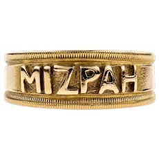 Victorian Mizpah 18k Ring, Antique 18ct Yellow Gold with Beaded Edge. Chester 1890s.