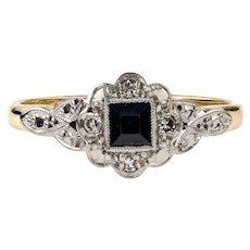 Sapphire Art Deco Engagement Ring with Diamond Halo, 18ct & Platinum.