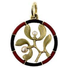 Vintage Mistletoe Pendant, 14ct 14k Gold & Enamel with Seed Pearls.