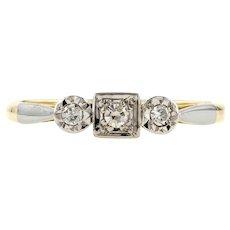 Vintage Three Stone Art Deco Diamond Engagement Ring, 18ct Yellow Gold & Platinum.