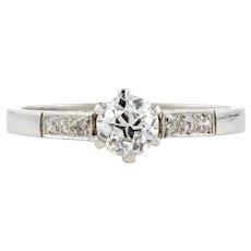 Platinum Old European Cut Diamond Engagement Ring, 0.45 ct Antique Single Stone Ring.