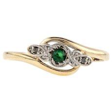 Green Tourmaline & Diamond Three Stone Engagement Ring, Vintage 1920s, 9ct and Platinum.