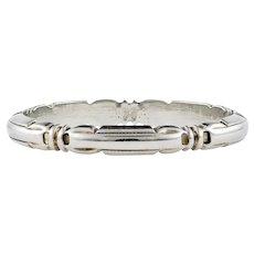 Ribbon Engraved 18k White Gold Wedding Band, Narrow Belais 18ct 1920s Ring. Size L / 5.75.