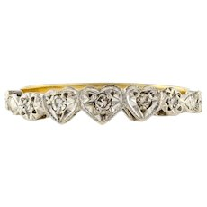 Five Stone Diamond Love Heart Engagement Ring. Circa 1930s, 18ct Gold & Platinum.