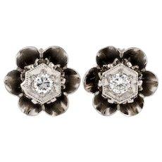 Diamond Stud Earrings in Buttercup Flower Setting, Mid 20th Century, 14k White Gold.
