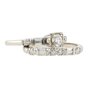Vintage Engagement Ring & Wedding Band Set, 1940s Round and Baguette Cut Diamond Matched 14k Rings.