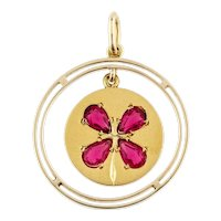 Antique 18ct Gold Lucky Clover Pendant, Synthetic Ruby Large 18k Charm.
