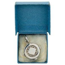 Mid Century Sterling Silver Pendant, Vintage 1950s Large Medal in Original Blue Presentation Box.