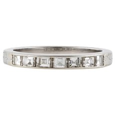 Carre Cut Diamond Half Hoop Wedding Ring, Vintage Platinum Engraved Ladies Band. Size L / 5.75.
