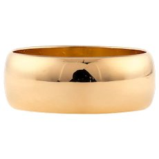 Antique Wide 22ct Wedding Band, Ladies 22k Gold Cigar Ring 1910s, Size I / 4.25.