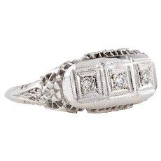 Filigree 14k Three Stone Diamond Ring, Art Deco 14ct White Gold Floral Engagement Ring.