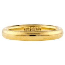 Tiffany & Co 18k Yellow Gold Wedding Ring, Vintage Ladies 18ct Band. Size I / 4.25.