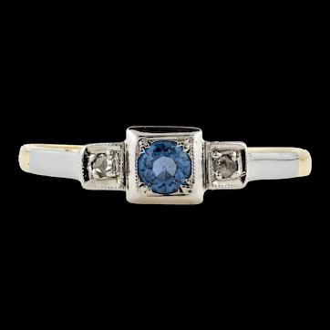 Sapphire & Diamond Vintage Three Stone Engagement Ring, 18ct Gold and Platinum Square Setting.