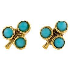 Turquoise Glass 18ct Gold Earrings, Small 18k Paste Clover Vintage Stud Earrings.