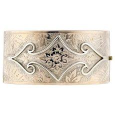 Victorian Engraved Sterling Silver Bracelet, Antique Ornate Dog Wood Flower & Leaf Bangle.