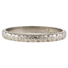 Orange Blossom Flower Engraved Platinum Wedding Ring, Ladies Art Deco Band Size O / 7.25.