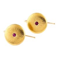 Ruby Textured Disc Earrings, Antique French 18ct 18k Converted Button Drop Earrings.