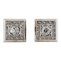 Old Mine Cut Diamond Stud Earrings, 9ct 9k White Gold Engraved Studs.
