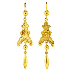 Victorian Floral 9ct 9k Gold Dangle Earrings, Antique Articulated Cannetille Drops.