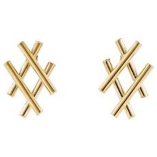 Hashtag Design 14k Yellow Gold Earrings, Large Stylish Hallow Bar 14ct Stud Earrings.