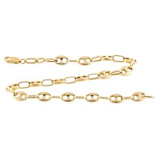 Anchor Link 14k Bracelet, Estate 14ct Yellow Gold Mariner Sailor Link 19.5 cm / 7.66 inch Chain.