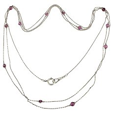 Antique Paste Long Guard Chain, Silver Plated By the Yard Flapper Necklace.