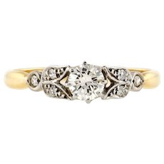 Art Deco Diamond Engagement Ring, Vintage Leaf Design Band 18ct & Platinum.