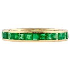 Emerald Eternity Ring, Chanel Set Full Hoop Wedding Band. 14k 14ct Gold Size O.5 / 7.5.