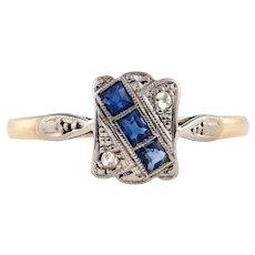 Sapphire & Diamond Art Deco Engagement Ring, 9ct Platinum 1930s Vintage Ring.