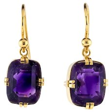 Cushion Cut Amethyst Drop Earrings, Vintage 14ct 14k Yellow Gold Double Tab Prong Design.
