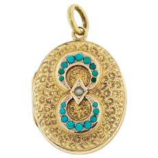 Victorian 15ct 15k Gold Engraved Locket, Antique Turquoise Paste & Faux Pearl Photo Pendant.