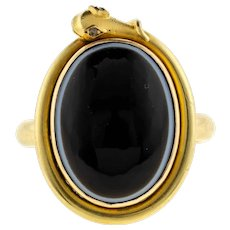 Antique Coiled Snake Ring with Diamond Eyes, 18ct 18k Bezel Set Banded Agate Conversion.