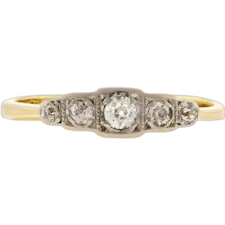 Old European Cut Diamond Ring, Antique Five Stone Band 18ct & Platinum.