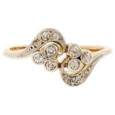 Edwardian Diamond Cluster Ring, Unique Old Cut Engagement Ring Circa 1900s. 18ct Gold & Platinum.