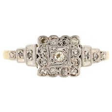 Art Deco Square Cluster Diamond Engagement Ring with Stepped Shoulders, 18ct & Platinum.
