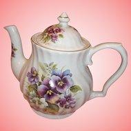 Vintage Crown Heritage China Tea Pot - Violets