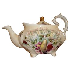 Vintage Hammersley Tea Pot - Hand-Painted Fruit - Signed