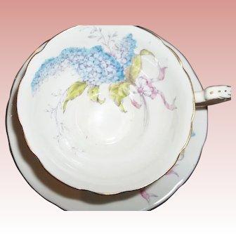 Vintage Paragon Tea Cup and Saucer - Lilacs on White (Quatrefoil Shape)