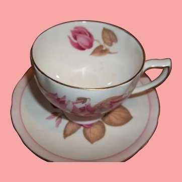 Vintage Colclough Tea Cup and Saucer - Pink Flowers on White