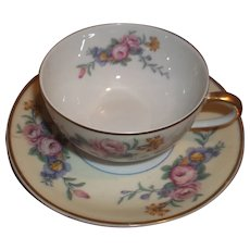 Vintage B&C Limoges Tea Cup and Saucer - Bright Florals