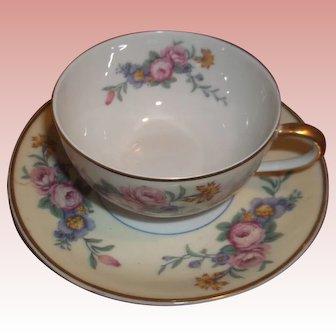 Vintage B&C Limoges Tea Cup and Saucer - Bright Florals