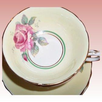 Vintage Paragon Tea Cup & Saucer - Single Pink Rose